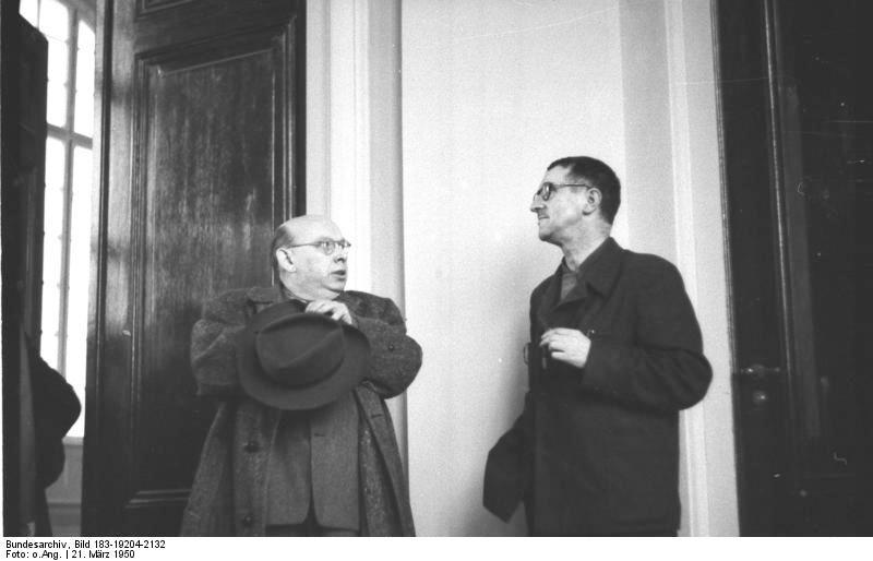 Bertolt Brecht and Hanns Eisler, 1950. Allgemeiner Deutscher Nachrichtendienst - Zentralbild (Bild 183). Courtesy of Wikimedia Commons.