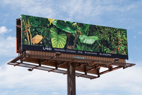 Zoe Crosher, <i>LA-LIKE: Shangri-LA'd</i>, 10 billboards. Installation view, A LAND exhibition: The Manifest Destiny Billboard Project, Palm Springs, CA, 2015. Courtesy of LAND.