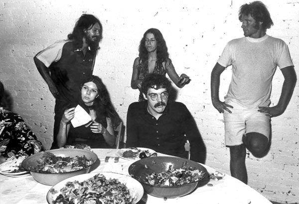 Jo Harvey and Terry Allen (seated), with Al Ruppersberg, Debbie Taylor and Gary Kruger at Cirrus Editions, 1970. All images courtesy of Terry Allen and L.A. Louver, Venice, CA.