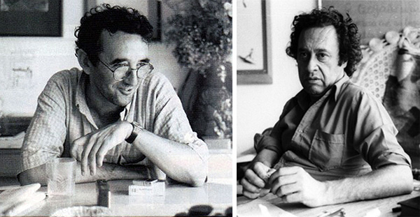 Left: Roberto Bolaño, date unknown. Right: Enrique Lihn, Santiago, 1983. Photo: Marcelo Montecino.