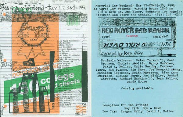 Jory Felice and Dave Muller, <em>Three Day Weekend Flyer (Dave's Not Here)</em> and <em>Three Day Weekend Flyer (Red Rover)</em>, 1994. Xerox on paper. Collection of Dave Muller. Photo: Dave Muller. Courtesy of the artist and Blum & Poe, Los Angeles.