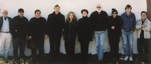 UCLA Art Department Faculty, 1999. Pictured, from left: Henry Hopkins, Paul McCarthy, Chris Burden, James Welling, Barbara Kruger, Mary Kelley, John Baldessari, Nancy Rubins, Charles Ray, Lari Pittman. Photo: George Lange.