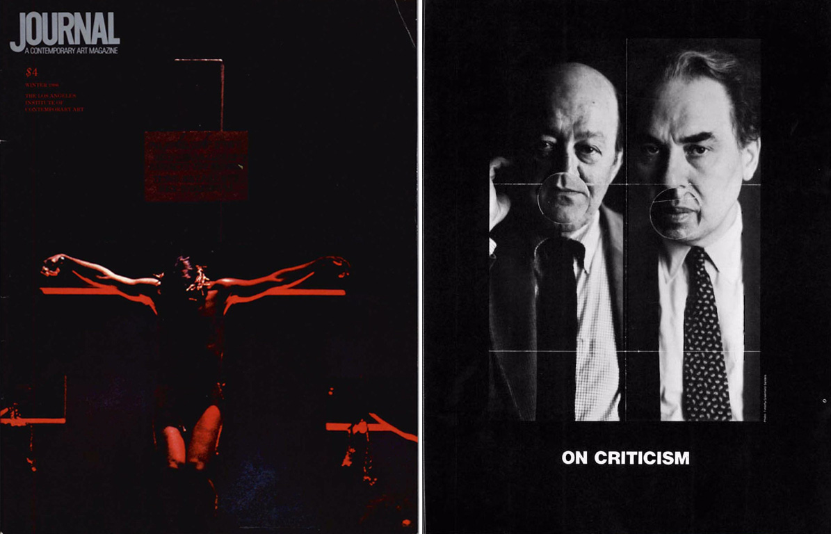Cover and interior illustration of <em>LAICA Journal</em> Vol. 5, No. 43 (Winter 1986). Left: Mark Greenberg, from <em>Crystal Cathedral's Annual Presentation of the Glory of Easter</em>, 1984; Right: Ron Linden, <em>On Criticism</em>, 1986. Pictured: Clement Greenberg and Hilton Kramer. Courtesy of Robert Smith.