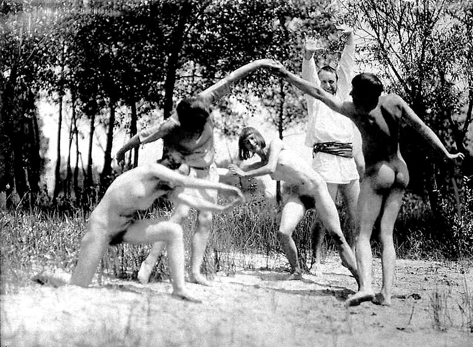German choreographer Rudolf Laban and his dancers at Monte Verità in Ascona, Switzerland, 1914. Photo: Johann Adam Meisenbach.