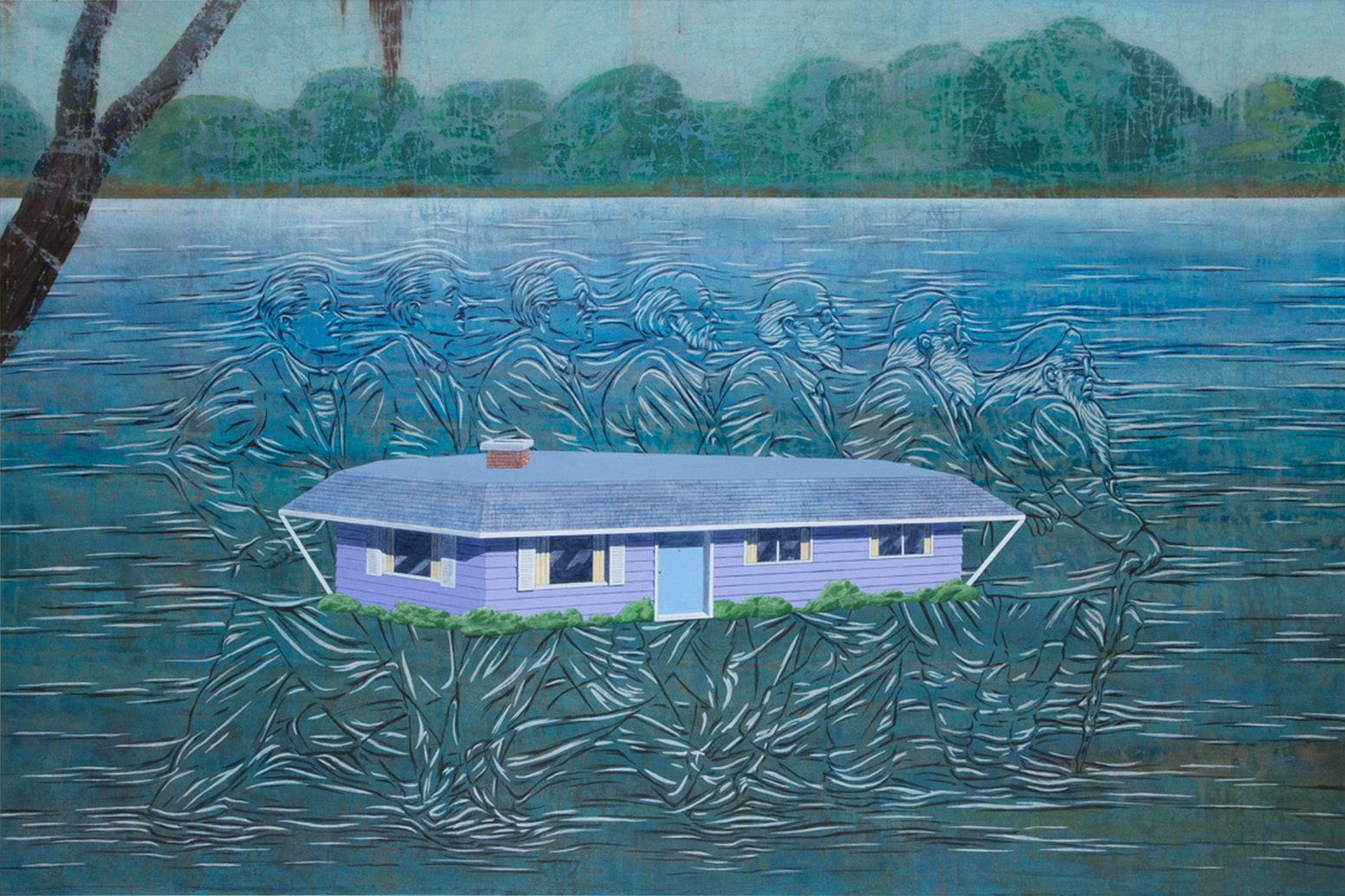 Jim Shaw, <em>The House in Mississippi</em>, 2013. Acrylic on muslin, 72 x 108 inches. Courtesy of the artist and Blum & Poe, Los Angeles.