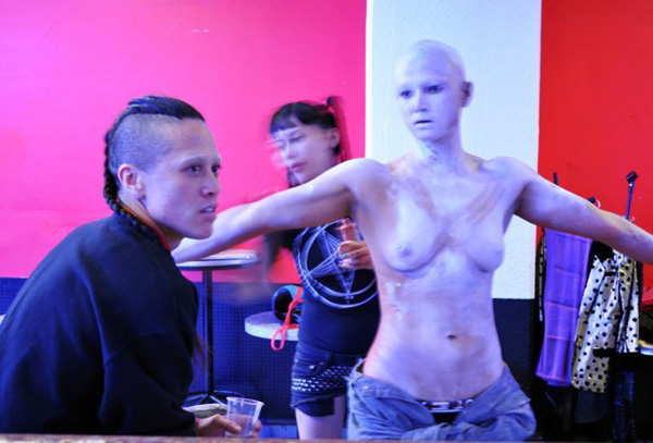 Wu Tsang and boychild during the production of <em>A day in the life of bliss</em>, 2013. Photo: Jesus Torres Torres.