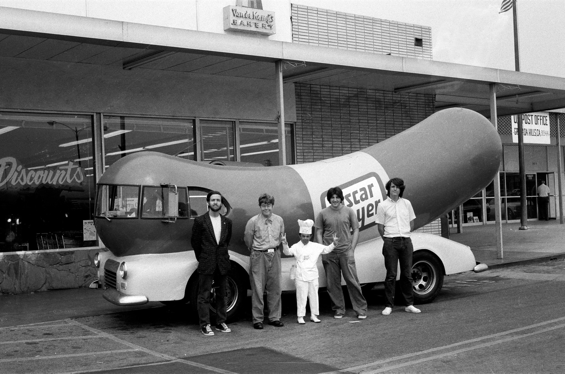 Jeffrey Vallance, <i>Meeting with Little Oscar and His Giant Wienermobile</i>, ca. 1973. Performance in Granada Hills, CA.