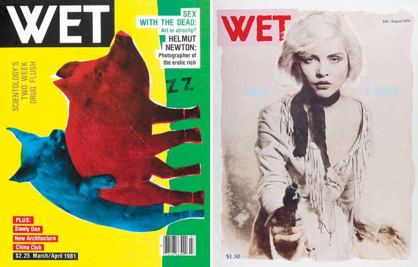 <em>WET: A Magazine of Gourmet Bathing</em>. Left: Issue 30 (March/April 1981). Cover illustration and design by Bob Zoell. Art direction by Leonard Koren. Right: Issue 19: Outlaw (July/August 1979). Cover photograph by Larry Williams. Design and art direction by Roy Gyongy and Larry Williams.