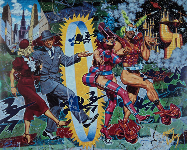 Robert Williams, <em>Vanity of the New</em>, 1991. Oil on canvas, 40 x 46 in. Courtesy of Tony Shafrazi Gallery, New York.