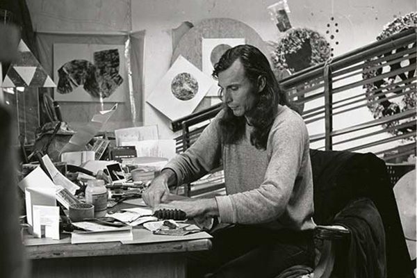 George Herms in his studio, 1977.