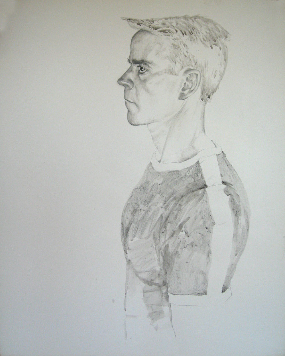 <em>Self-portrait</em>, 1976. Pencil and ink wash on paper. 24 x 19 in. Courtesy of the artist and Craig Krull Gallery, Santa Monica.