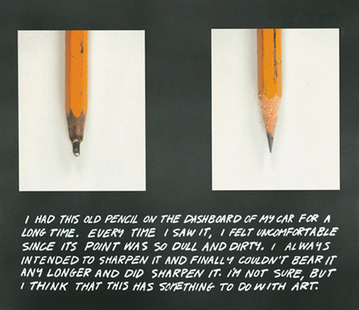 John Baldessari, <em>The Pencil Story</em>, 1972-3. Color photographs, and colored pencil on board, 22 x 27 ¼ in. Courtesy of John Baldessari.