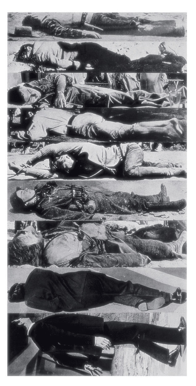 John Baldessari, <em>Horizontal Men</em>, 1984. Gelatin silver prints, 8 x 4 ft. Courtesy of the artist.