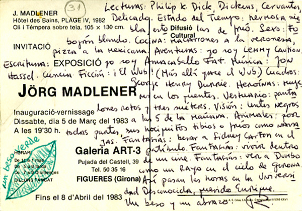 Postcard from Bolaño to Enrique Lihn, 1983. © Robert Bolaño, used with the permission of The Wylie Agency and the Getty Research Institute.