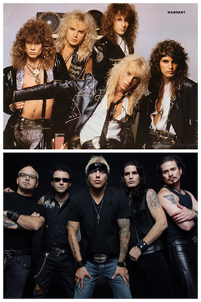 The evolution of Warrant's look from the 1980s (top) to the present.