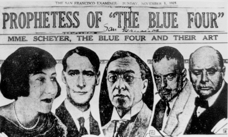"""Prophetess of the Blue Four,"" <em>San Francisco Examiner</em>, November 1, 1925. Pictured: Galka Scheyer, Lyonel Feininger, Wassily Kandinsky, Paul Klee and Alexej Jawlensky."