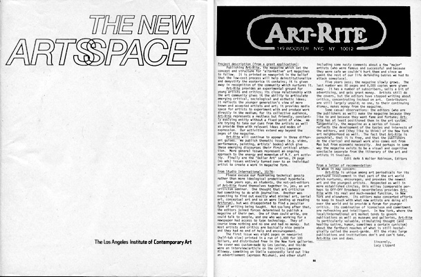 "Program for the New Artsspace conference, April 26-29, 1978. It included a directory of 57 alternative visual arts organizations from around the country, such as New York's <em>Art-Rite</em>. To download a copy, click <a href=""http://s3.amazonaws.com/eob_texts-production/texts/144/1348607232_New_Artsspace_Catalogue_(1978).pdf?1348607232"" target=""_blank""> here</a>."