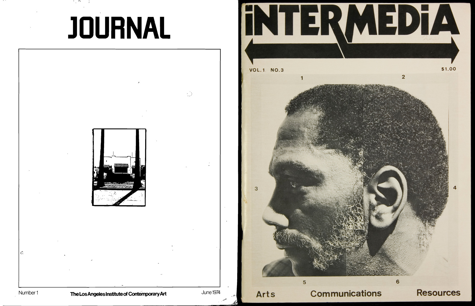 "Left: Cover of <em>LAICA Journal</em></a> Vol. 1, Issue 1 (June 1974). Courtesy of Robert Smith. Right: Cover of <em>Intermedia</em> Vol. 1, Issue 3 (1975). Courtesy of Harley Lond. To download a PDF of <em> LAICA Journal</em> Vol. 1, Issue 1 (June 1974), click <a href=""http://s3.amazonaws.com/eob_texts-production/texts/91/1326838015_Excerpt%20from%20LAICA%20Journal%20Number%201%20June%201974.pdf?1326838015"" target=""_blank"">here</a>."
