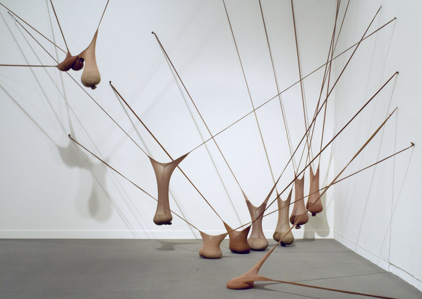 Senga Nengudi, <em>RSVP I</em>, 1977. Nylon mesh, sand. Dimensions variable.