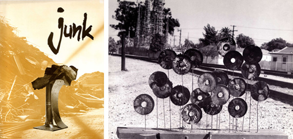 Left: Cover of exhibition catalogue for <em>Junk Art: 66 Signs of Neon</em>, Los Angeles, 1966. Right: Debby Brewer, <em>Sunflowers</em>, 1966. Mixed media. Courtesy of the Noah Purifoy Foundation.