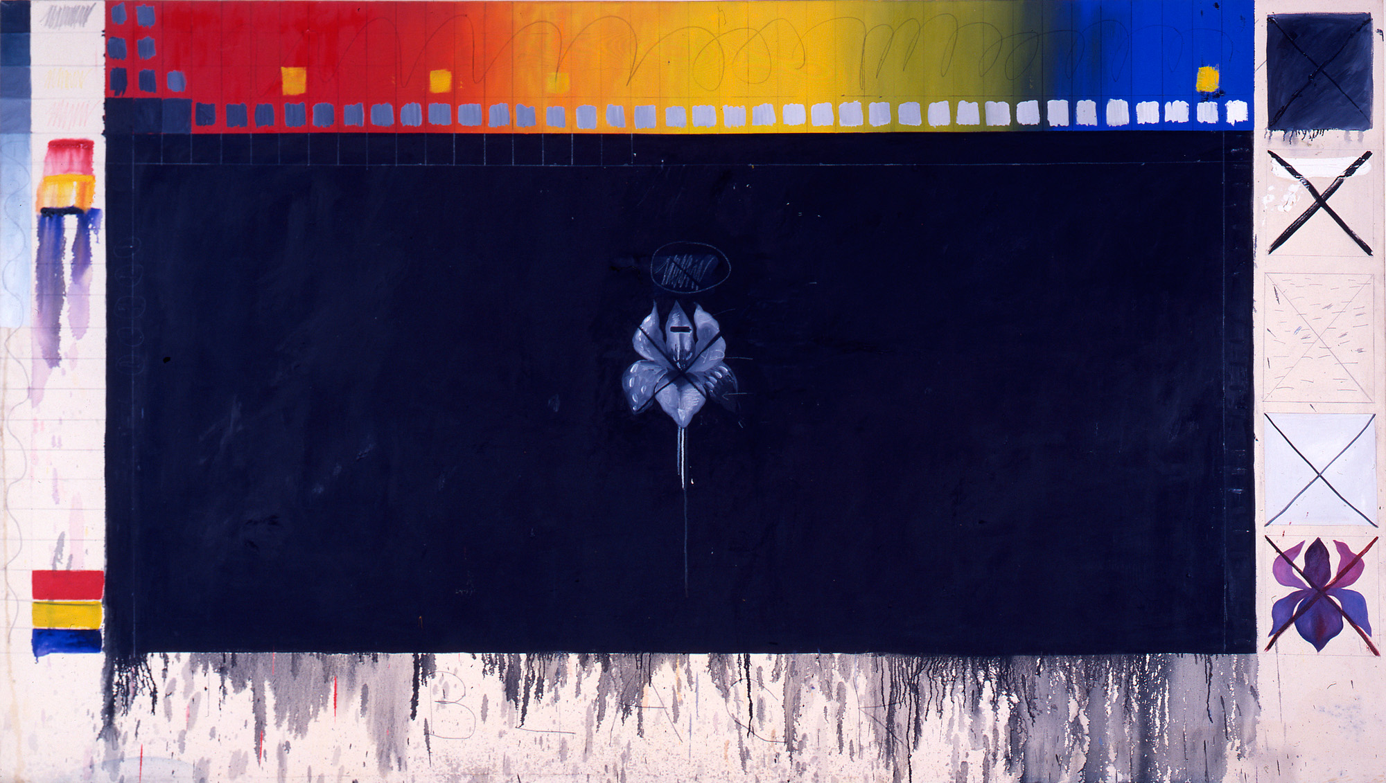 Pat Steir, <em>Black</em>, 1973. Oil and pencil on canvas, 72 x 132 in. Collection of Steven D. Robinson. Courtesy of the artist.