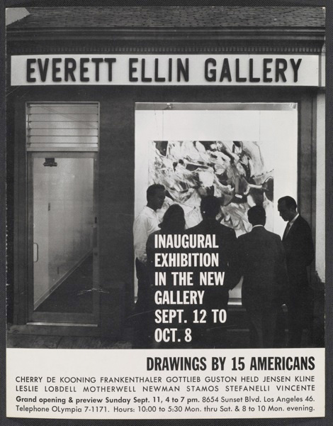 An exhibition announcement for the Everett Ellin Gallery's inaugural exhibition, 1960. Archives of American Art, Smithsonian Institution.