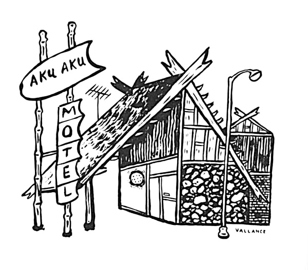 "Jeffrey Vallance, <i>Avenue of the Absurd: Aku-Aku Motel, Woodland Hills, CA.</i>, 1985. Ink on paper. Originally published as ""Mr. Vallance's Neighborhoods: The West Valley Revealed in Words and Pictures,"" <i>L.A. Weekly</i>, Sept. 20, 1985."