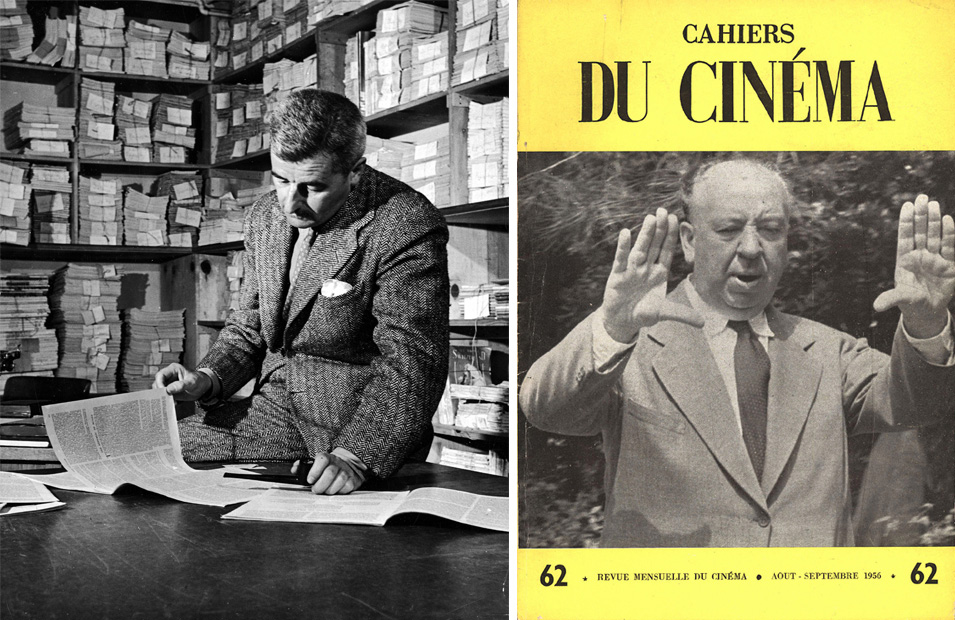 Left: American author William Faulkner reads through documents in the Warner Bros.' research department as possible script material, Hollywood, California, 1942. Courtesy Alfred Eriss/Pix Inc./Time Life Pictures/Getty Images. Right: Alfred Hitchcock on the cover of <em>Cahiers du Cinéma</em> no. 62 (August-September 1956).
