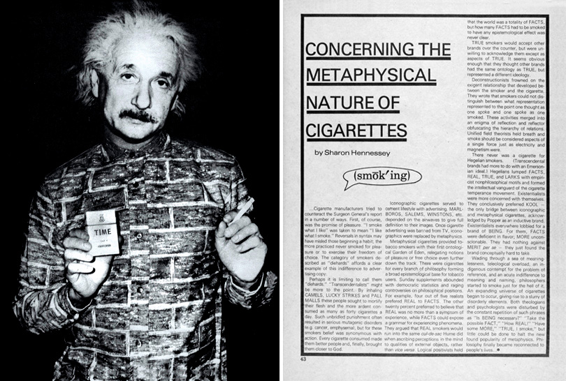 "<em>WET: A Magazine of Gourmet Bathing</em>, Issue 21 (November/December 1979). Left: Photo-illustration by Larry Williams. Right: Sharon Hennessey, ""Concerning the Metaphysical Nature of Cigarettes."""