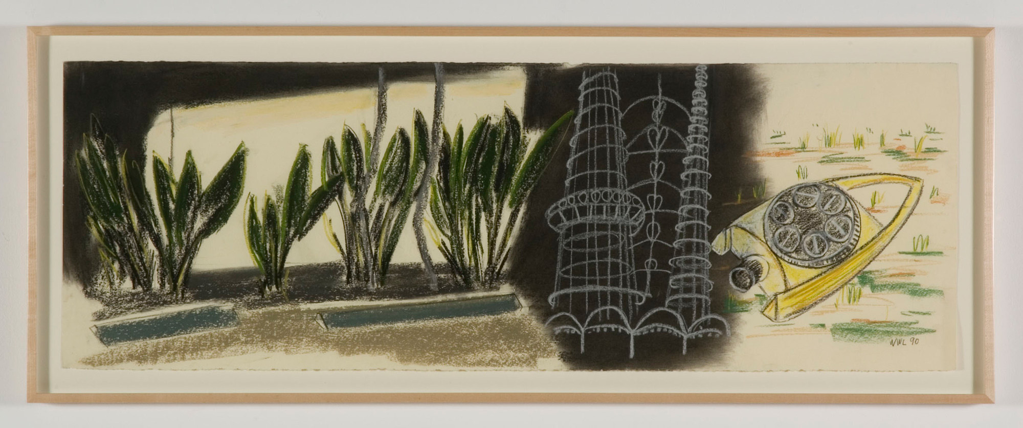 William Leavitt, <em>Rodia Tower with Lawn Sprinkler</em>, 1990. Pastel on paper, 15 x 43 in. Courtesy Margo Leavin Gallery, Los Angeles.