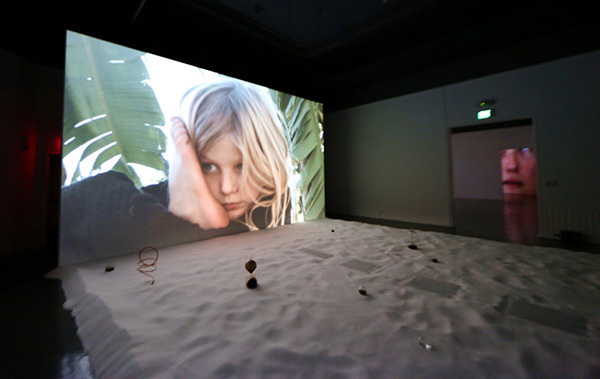 Lita Albuquerque, <i>20/20: Accelerando</i>, 2016, three channel video, color, sound, installation at USC Fisher Museum