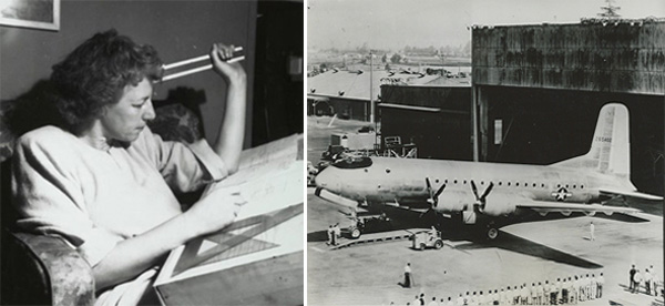 Left: Esther McCoy at her drafting board, Santa Monica, c. 1945, Esther McCoy Papers, Archives of American Art, Smithsonian Institution. Right: The C-74 Globemaster at Douglas Aircraft in 1945.