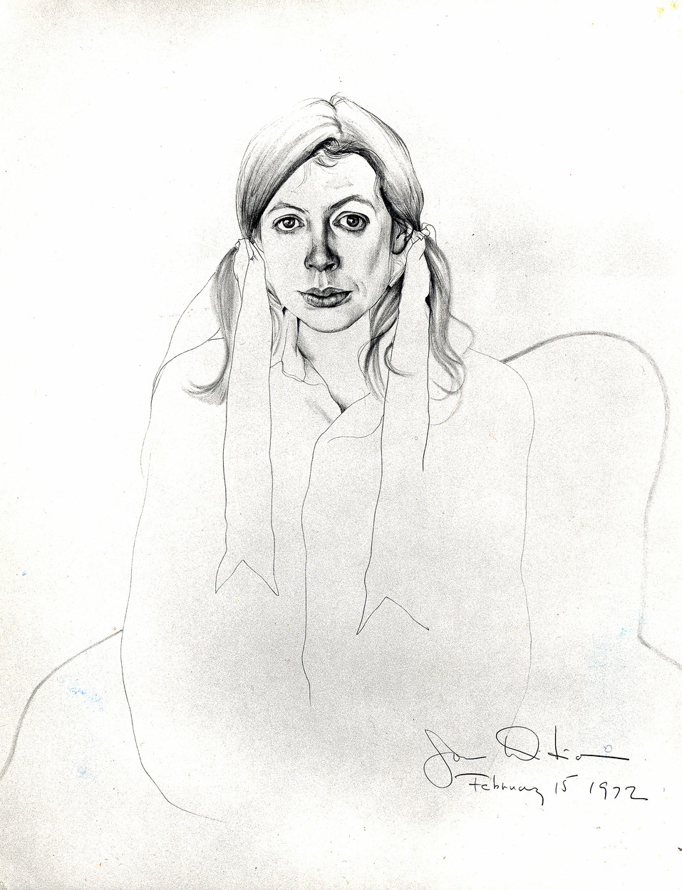 <em>Joan Didion</em>, 1972. Ink and pencil on paper. 29 x 23 in. Courtesy of the artist.