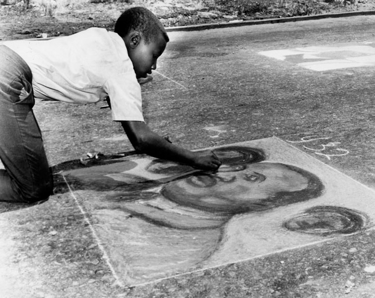 """The 2nd Annual """"Chalk-In,"""" held on 103rd Street and Grandee Avenue in Watts, 1968. Los Angeles Public Library Photo Collection."""