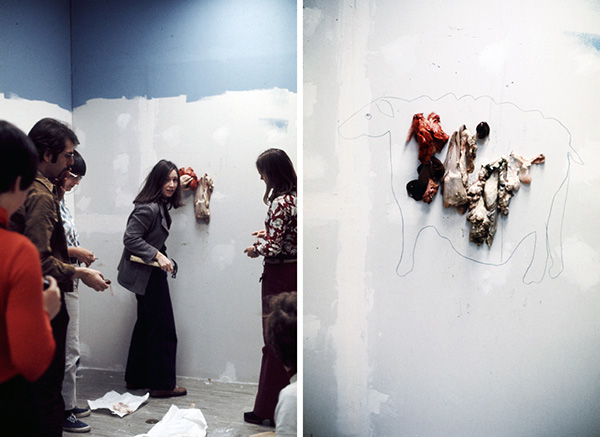 Suzanne Lacy, <em>Maps</em>, 1973. Happening at CalArts, Valencia, CA. Pictured, Left: Bia Lowe, Stanley Fried, Susan Mogul, Vanalyne Green and an unidentified student; Right, Detail of <em>Maps</em>. Photos: Suzanne Lacy. Courtesy of the artist.