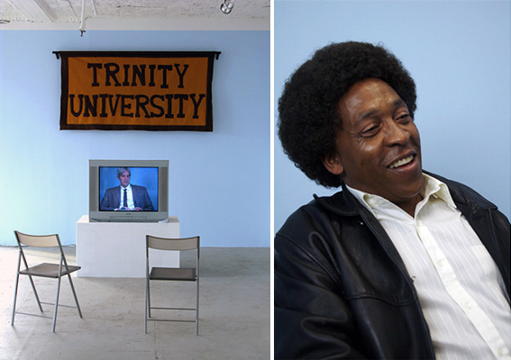 Michele O'Marah, <em>How Goes It with the Black Movement?</em>, 2007. Digital video, 45 min. Left: Installation view at Rental Gallery, New York, October 2007. Right: Henry Taylor as Huey Newton.