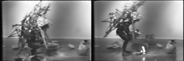 Kim Jones, video stills from <em>Rat Piece</em>, 1976. Performance at Cal State, Los Angeles. Courtesy of the artist and Pierogi, Brooklyn.
