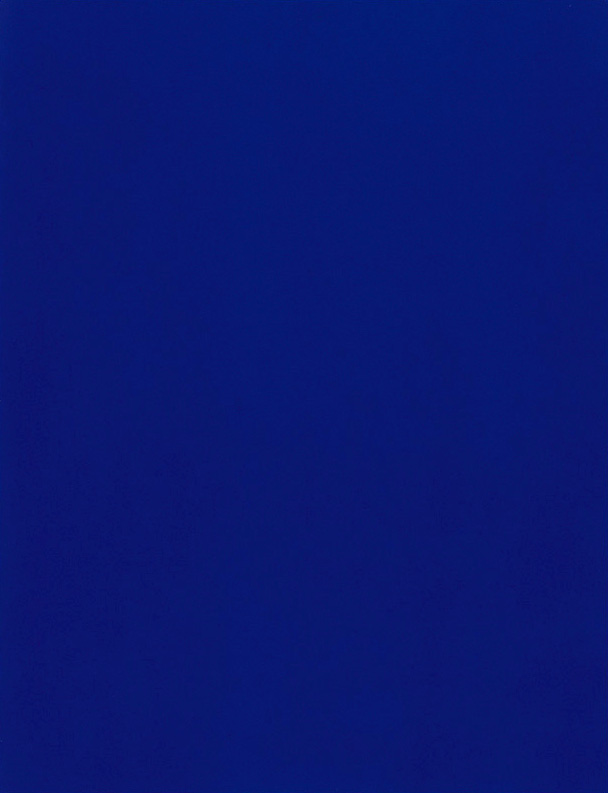 Yves Klein, <em>California (IKB 69)</em>, 1961. Pure pigment with synthetic resin on gauze mounted on board, 76 x 55 in.