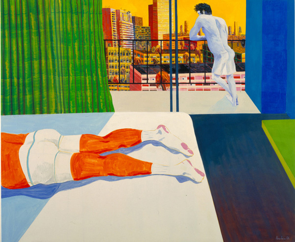 Richard Hawkins, <em>Sunburn (spitting off the balcony)</em>, 2006. Oil on linen, 60 x 72 in.
