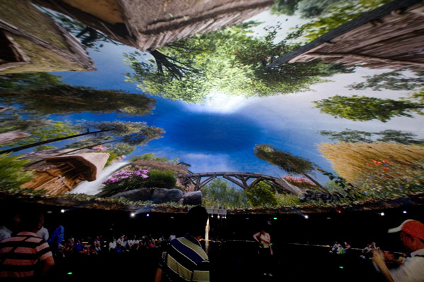 """The Only Planet We Have,"" an immersive panoramic film at the Pavilion of Urban Planet, conceived and designed by Triad Berlin Projektgesellschaft."