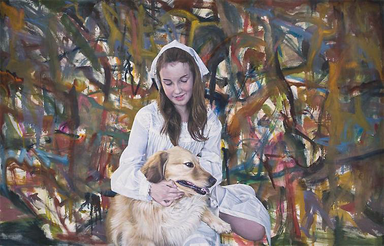 Left: Jim Shaw, <em>Oist Children Portrait (Girl & Dog)</em>, 2011. Oil on canvas, 47 x 73 in. Courtesy of the artist and Metro Pictures.