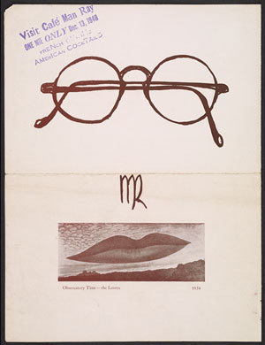 "Man Ray exhibition catalogue announcing ""Café Man Ray"" at the Copley Galleries, December 1948. Courtesy of the William Nelson Copley papers, Archives of American Art, Smithsonian Institution."