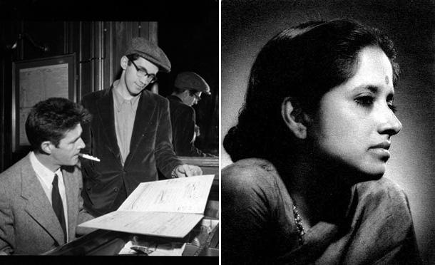 Left: John Cage and David Tudor, 1954. Courtesy of the New York Public Library. Right: Geeta Sarabhai Mayor, Baroda, 1951.