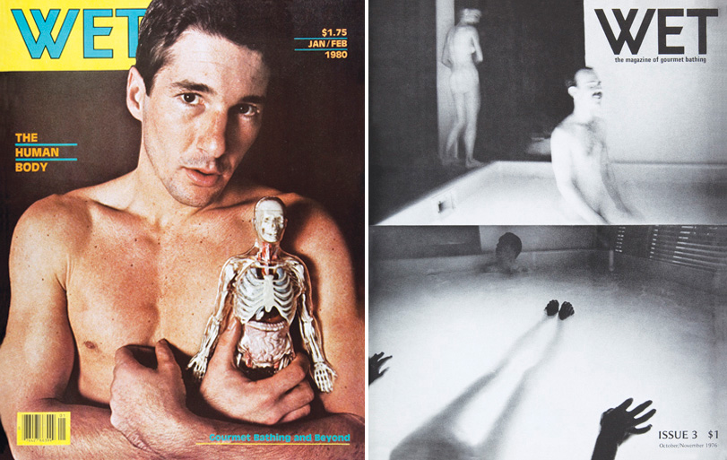 <em>WET: A Magazine of Gourmet Bathing</em>. Left: Issue 22: Human Body (Jan/Feb 1980). Cover photograph by Larry Williams. Design by Paula Greif. Art direction by Elizabeth Freeman and Leonard Koren. Right: Issue 3: Bathe in Nothingness (November/December 1976). Cover photograph and design by Leonard Koren.