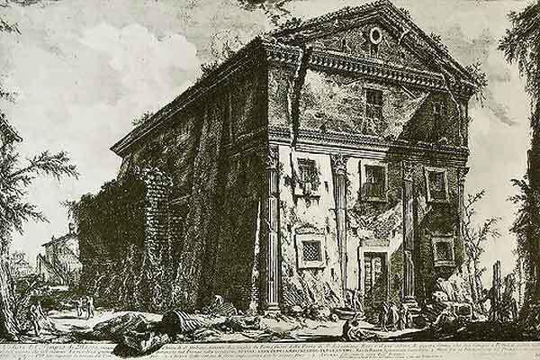 Giovanni Battista Piranesi, <em>Tempio di Cerere e Faustina</em>, 1756. Etching. Courtesy of Wikicommons.