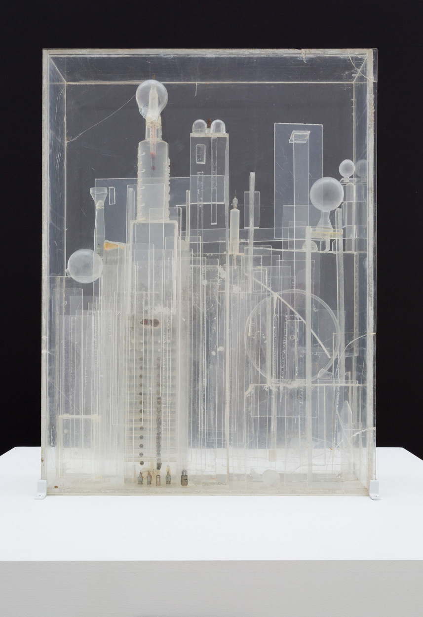 Noah Purifoy, <i>The City at Night</i>, 1965, Plexiglas assemblage, 24 3/4 × 18 1/2 × 4 1/2 in. © Noah Purifoy Foundation, courtesy of Karen Young / LACMA