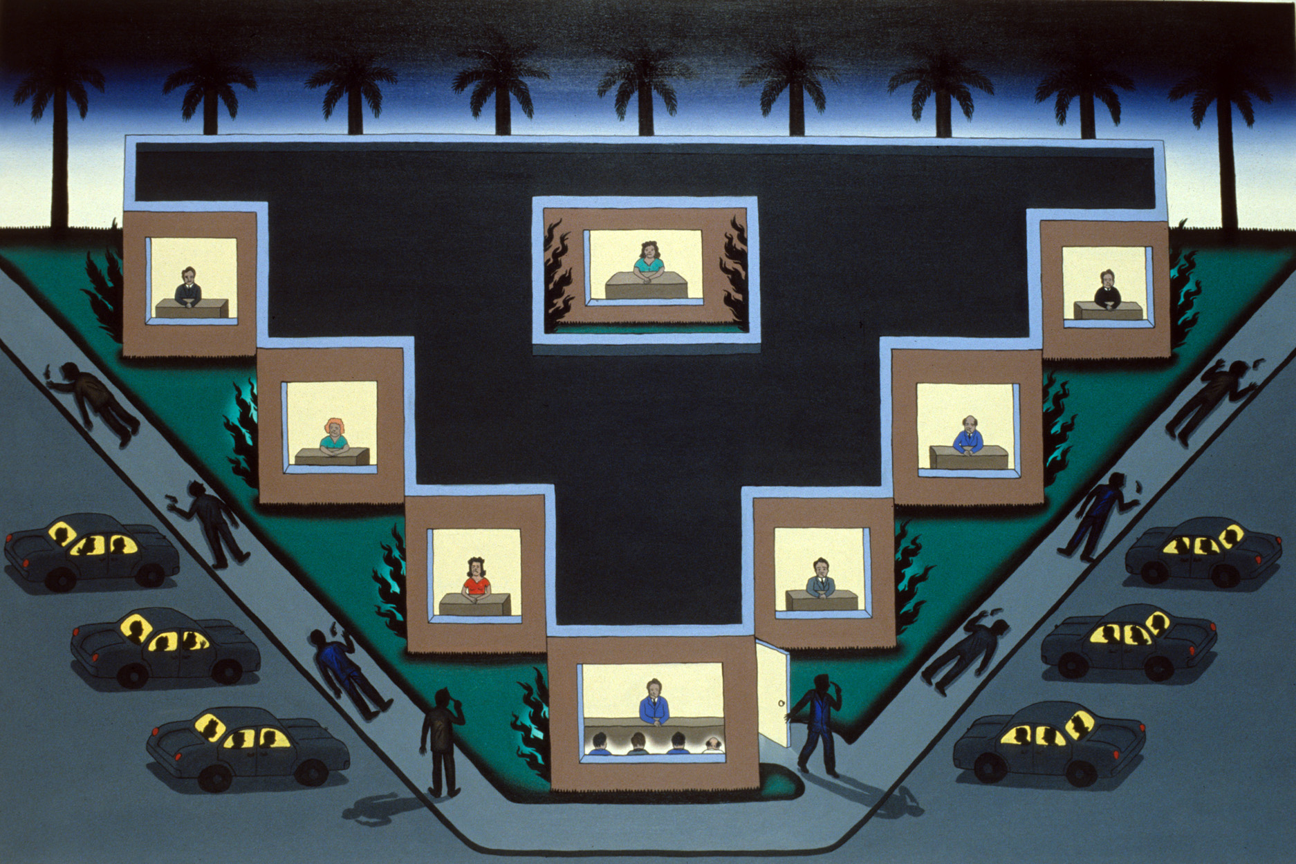 Roger Brown, <em>Citizens Killing Themselves After Having To Deal With the Ventura County Coastal Planning Commission (if you're dreaming of California it doesn't matter where you played before California is a whole new game)</em>, 1988, oil on canvas, 48 x 72 in. © The School of the Art Institute of Chicago and the Brown family.