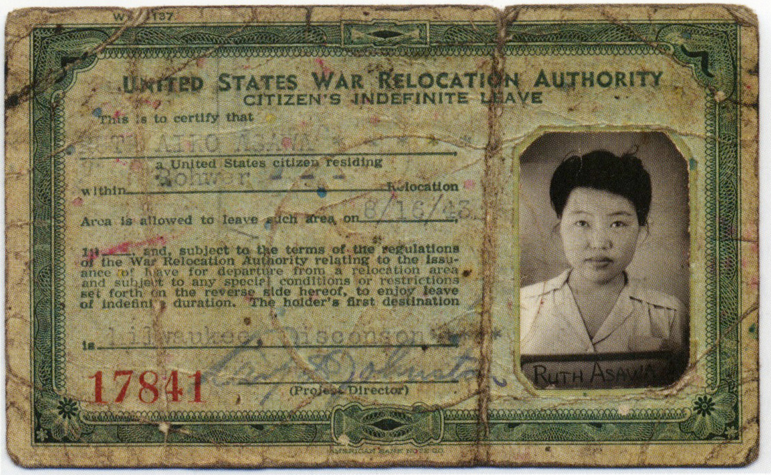 Ruth's internment identification card.