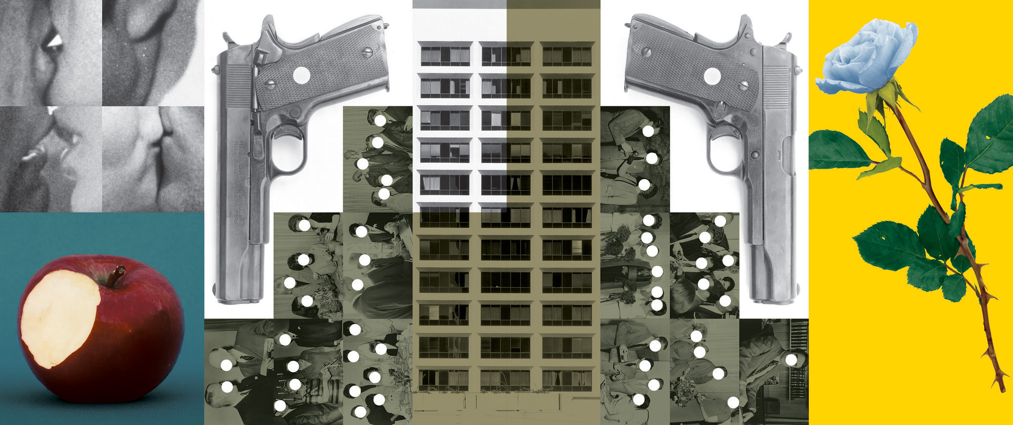 John Baldessari, <em>Buildings=Guns=People: Desire, Knowledge, and Hope (with Smog)</em>, 1985/1989. Black-and-white photographs, color photographs, vinyl paint, oil tint, 15.5 x 37 ft. Courtesy of the artist.