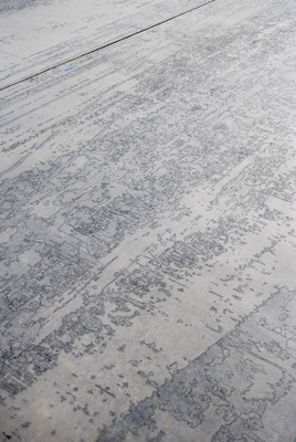 Ingrid Calame, detail of <em>Tracing at the Indianapolis Motor Speedway</em>, 2006. Pencil on trace Mylar, 10 x 40 ft. Photo: Tad Fruits. Courtesy of the artist and the Indianapolis Museum of Art.